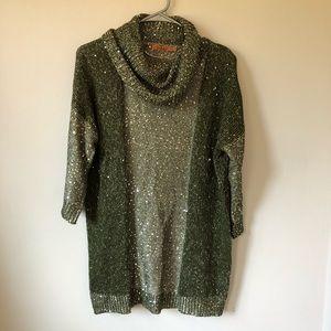 Belldini Green Cowl Neck Sequin Sweater